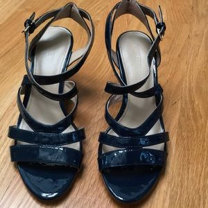 J. Crew dark navy patent leather sandals, size 6